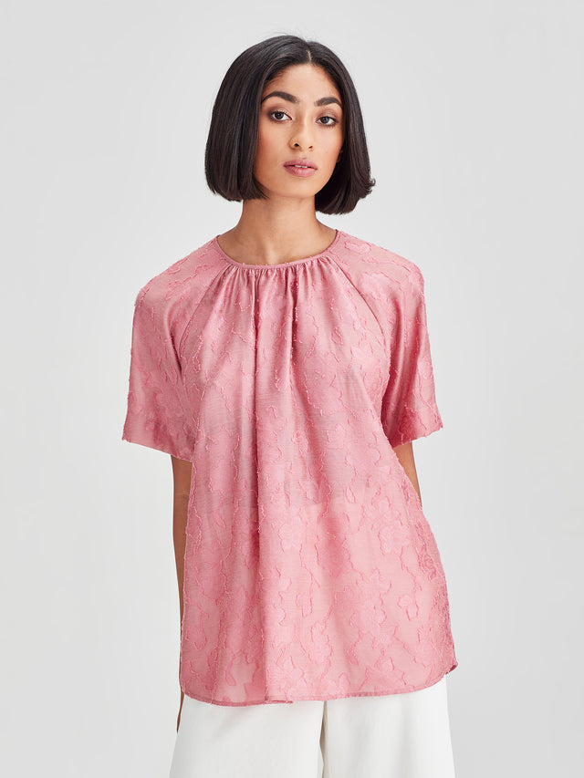 Agnes Blouse (Floral Night Jacquard) Rose