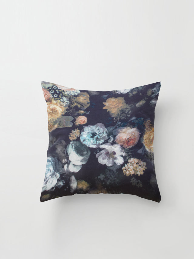 Medium Cushion Cover (Haunting Silk) Dark Floral