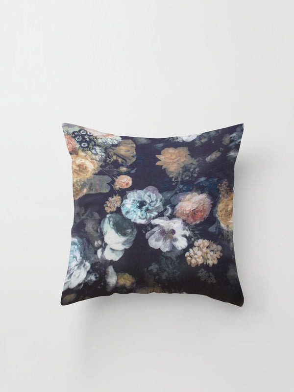 Large Cushion Cover (Haunting Silk) Dark Floral