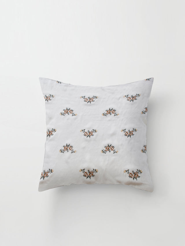 Medium Cushion Cover (Embroidered Silk) Ivory