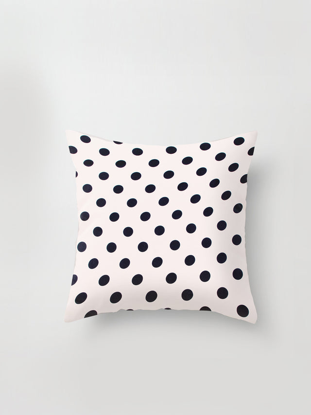 Large Cushion Cover (Polka Silk) Chalk/Black