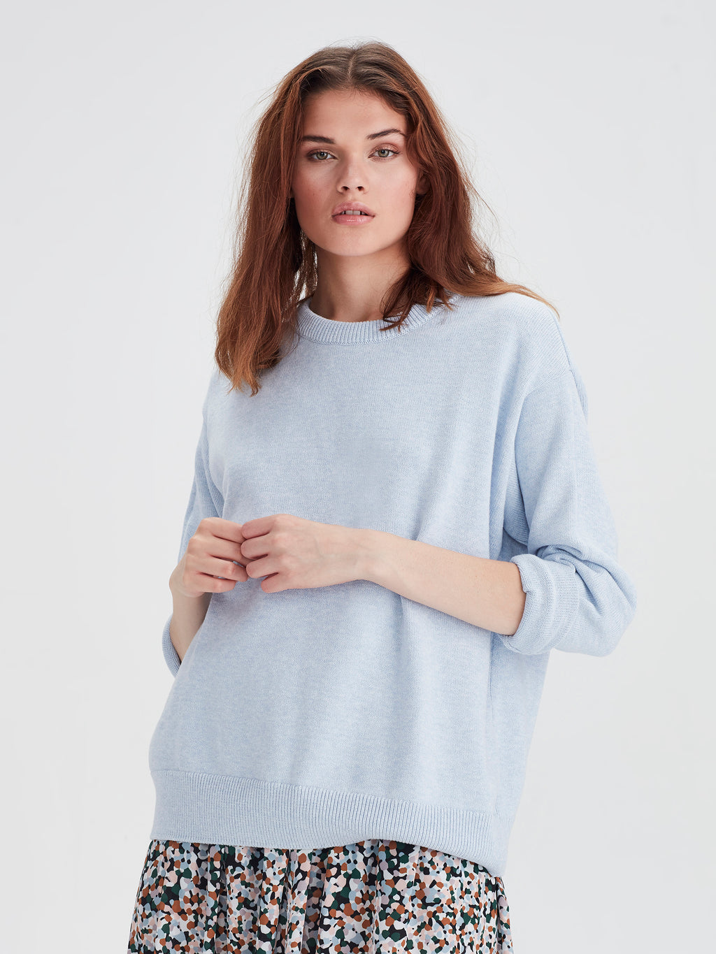 Cotton Sweatshirt (Cotton Knit) Baby Blue