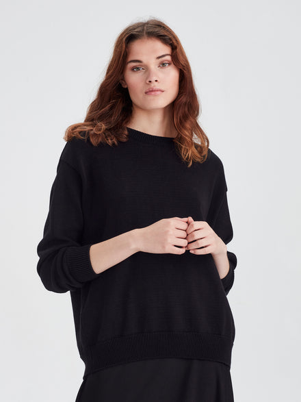 Cotton Sweatshirt (Cotton Knit) Black