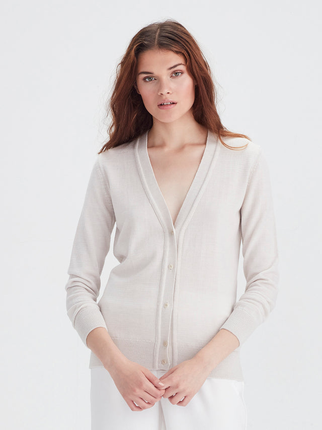 Harvey Cardi (Merino Knit) Chalk