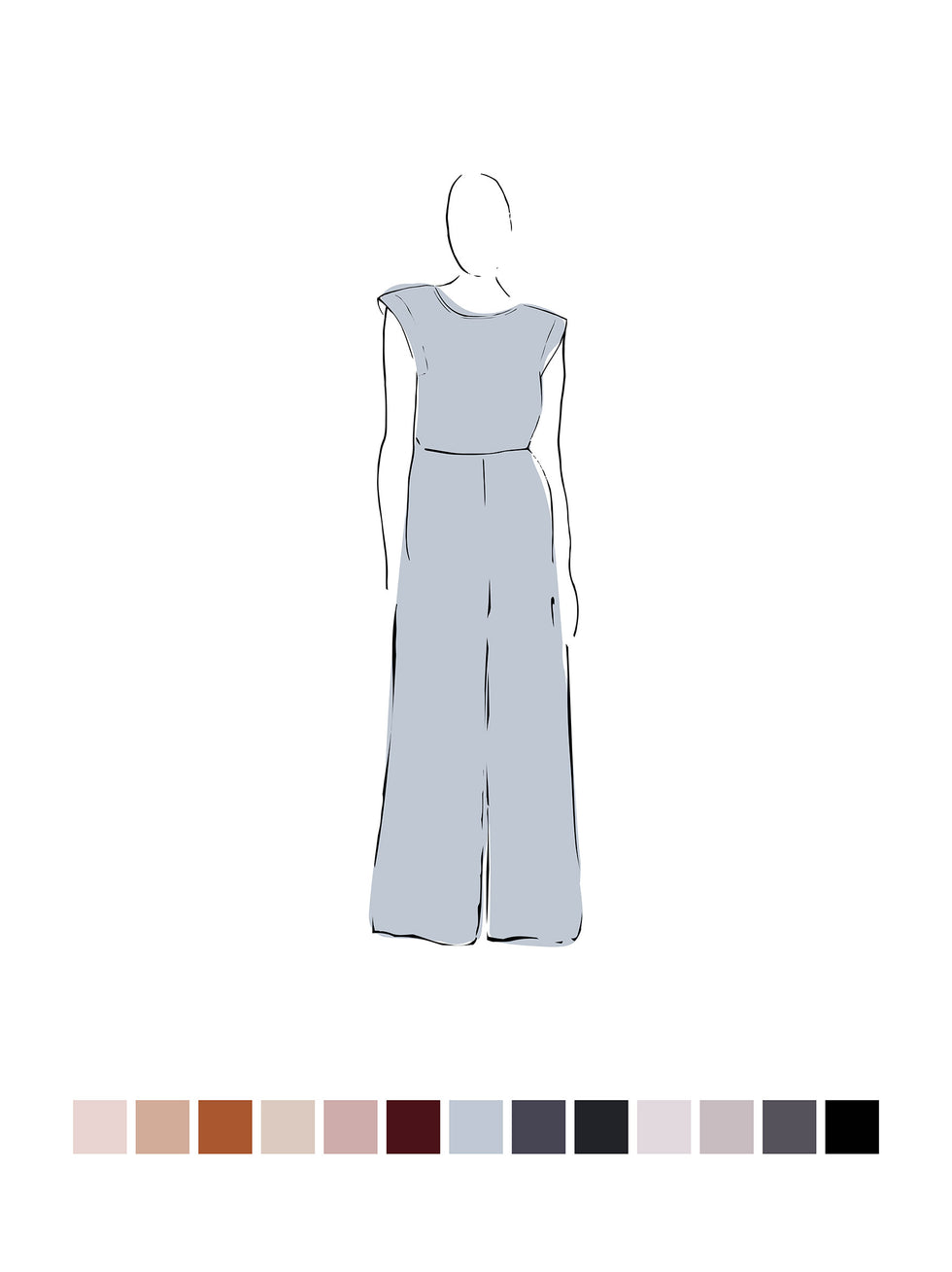 Ella Jumpsuit (Satin Triacetate) Sky 1