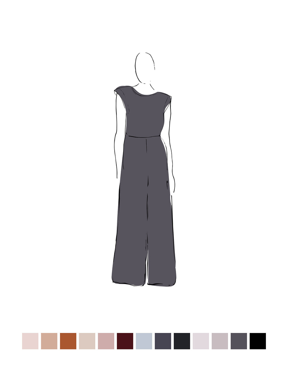 Ella Jumpsuit (Satin Triacetate) Smoke 3