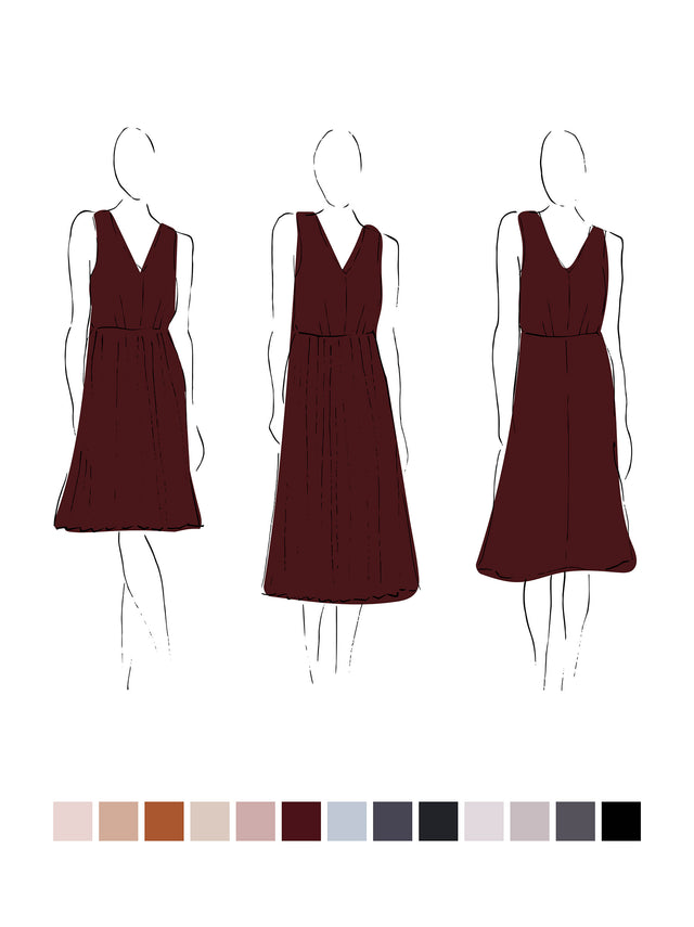 Fleur Dress (Satin Triacetate) Wine 3