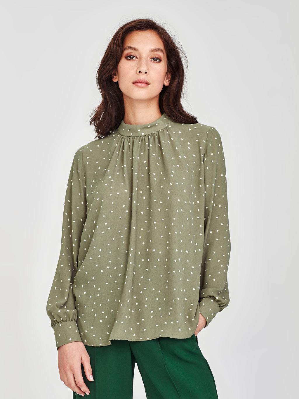 Alice Blouse (Spotty Crepe) Sea Green