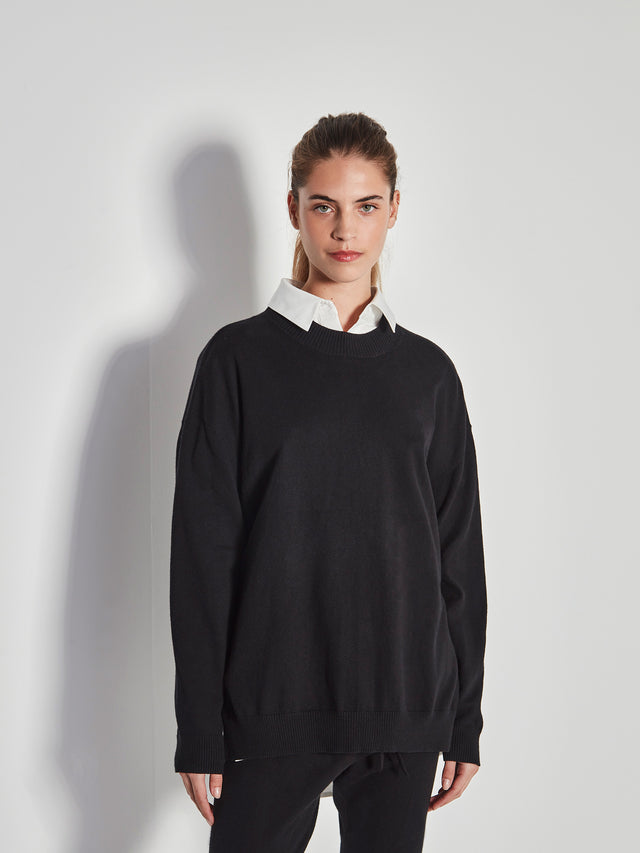 JHL Crew Sweater (Cotton Cashmere) Black