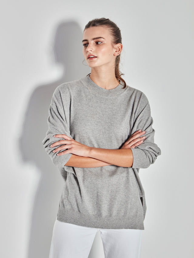 JHL Crew Sweater (Cotton Cashmere) Grey Marle