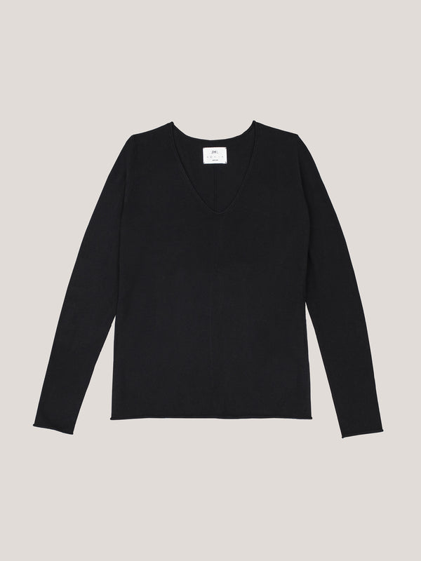 JHL V-Neck L/S T (Fine Cotton Cashmere) Black