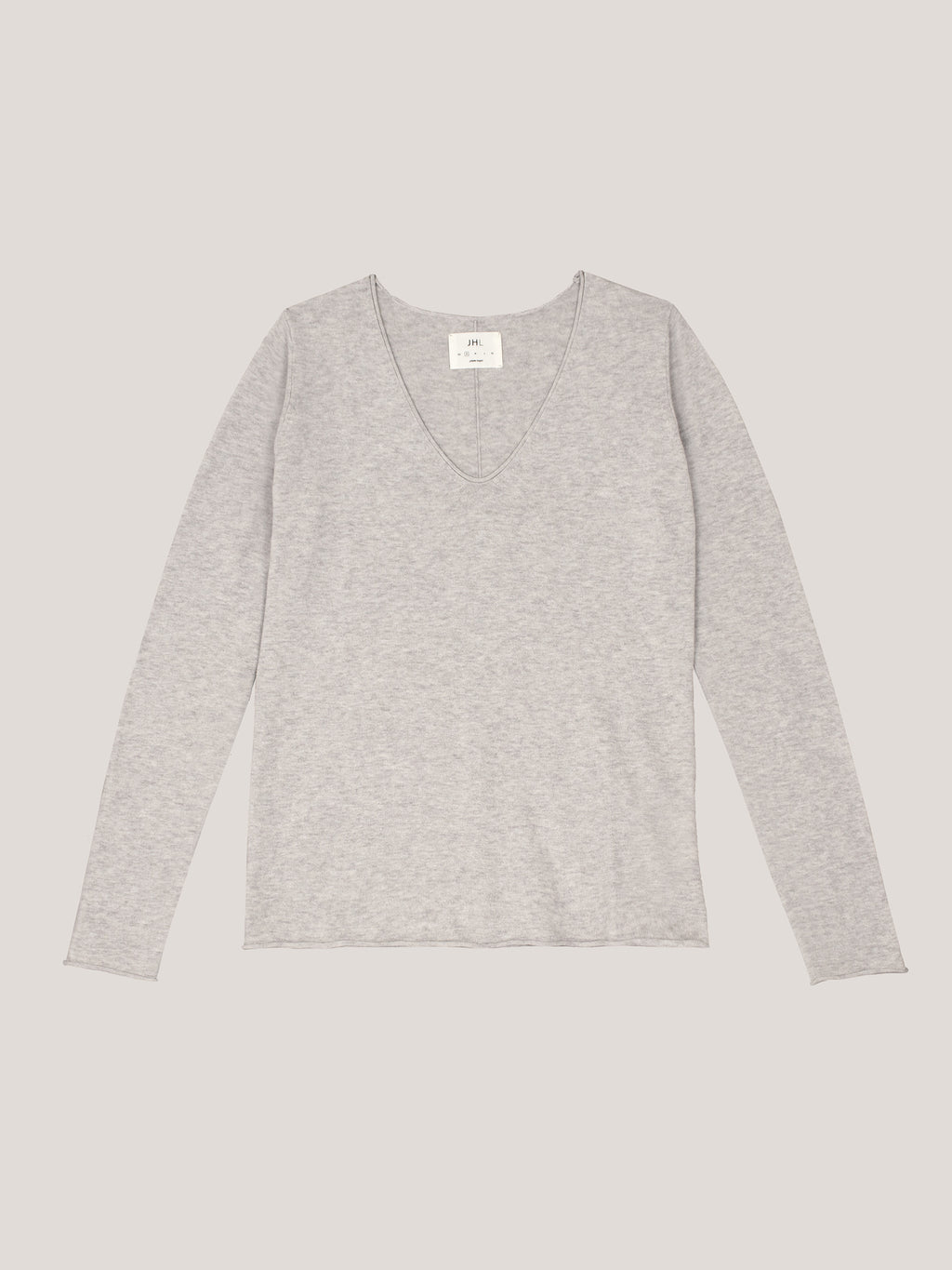 JHL V-Neck L/S T (Fine Cotton Cashmere) Soft Grey Marle
