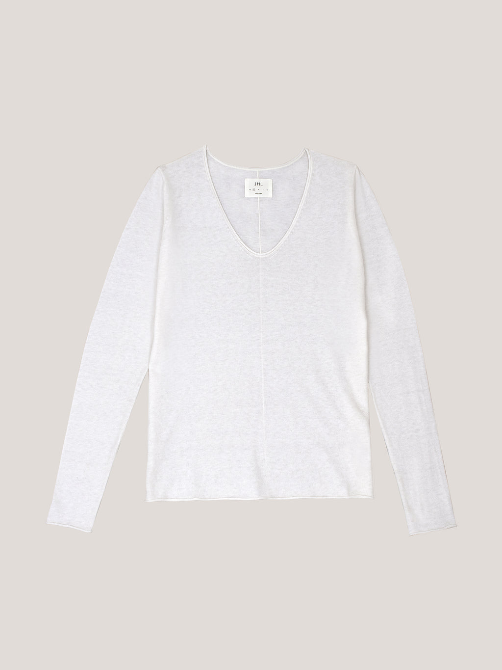 JHL V-Neck L/S T (Fine Cotton Cashmere) White