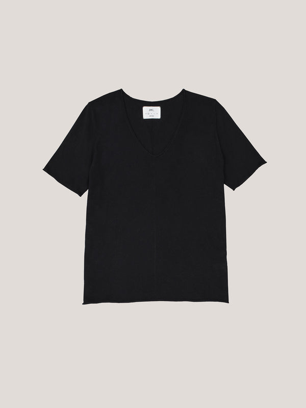JHL V-Neck T (Fine Cotton Cashmere) Black