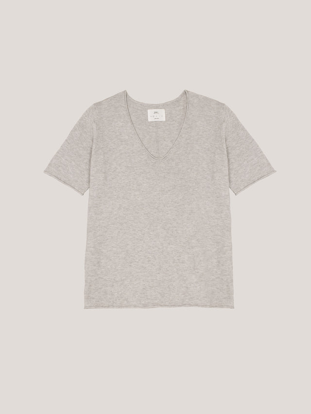 JHL V-Neck T (Fine Cotton Cashmere) Soft Grey Marle