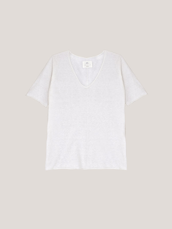 JHL V-Neck T (Fine Cotton Cashmere) White