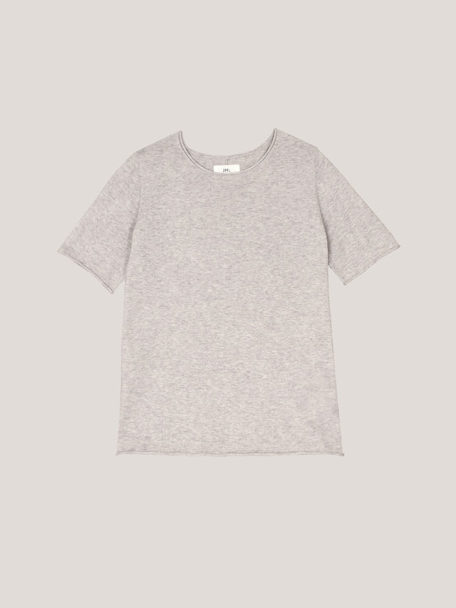 JHL Crew T (Fine Cotton Cashmere) Soft Grey Marle