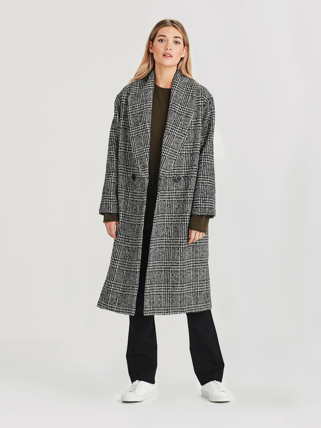 Shawl Coat (Alexa Tweed) Check