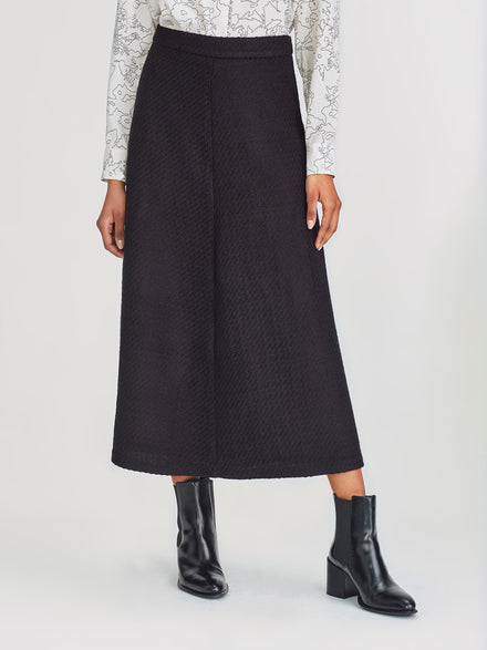 Polished Skirt (Boucle Twill) Black