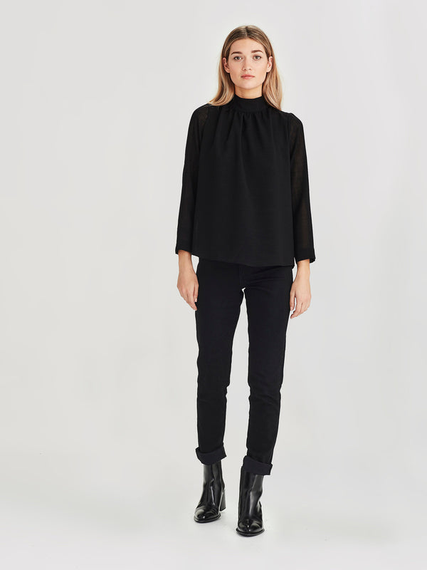 Salon Blouse (Cross Hatch ) Black