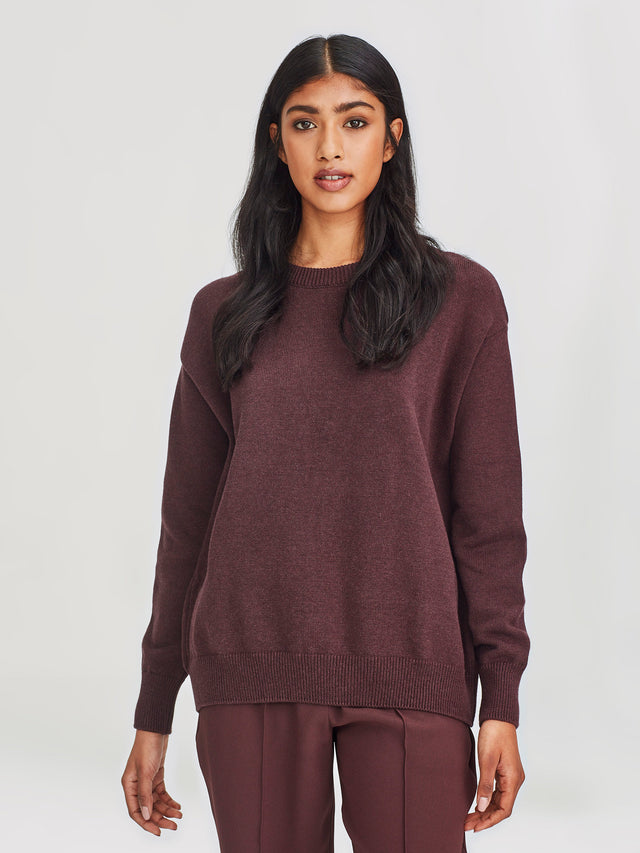 Cotton Sweatshirt (Cotton Knit) Wineberry
