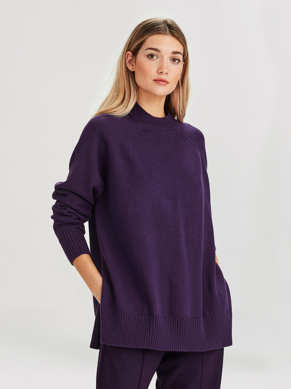 Frances Sweater (Cotton Knit) Blackberry