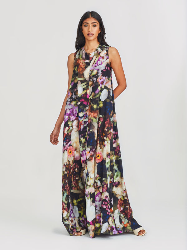 Tali Dress (Florist Silk) Dark Bouquet