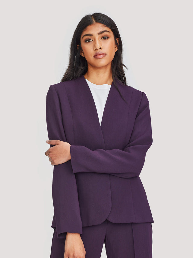Leslie Jacket (Luxe Suiting) Aubergine