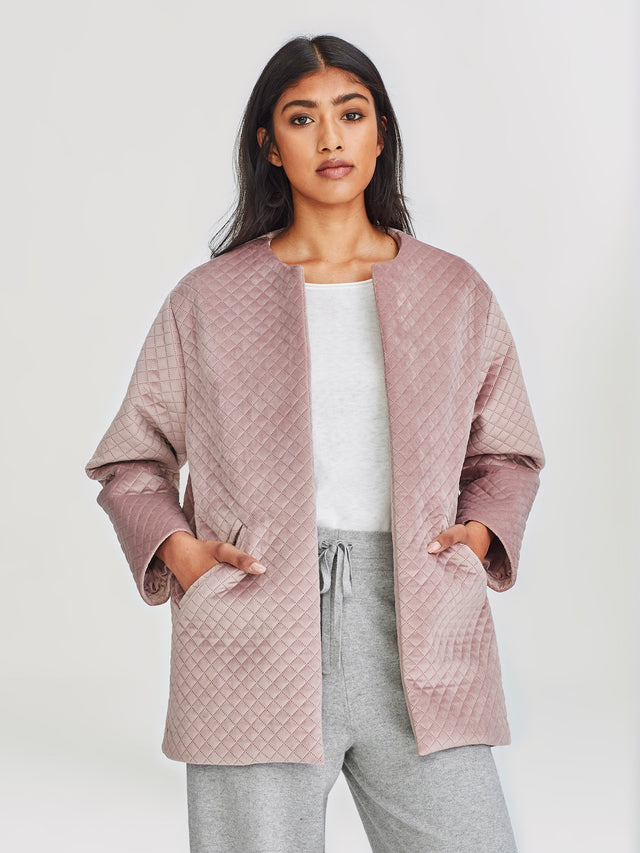 Smoking Jacket (Quilted Velvet) Dusty Lilac