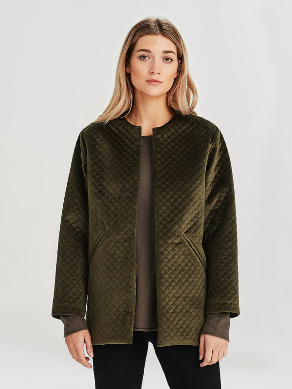 Smoking Jacket (Quilted Velvet) Olive
