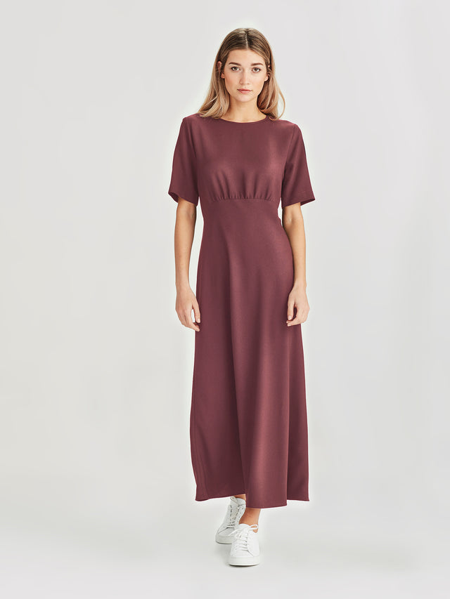 Carmela Dress (Satin Back Crepe) Mocha