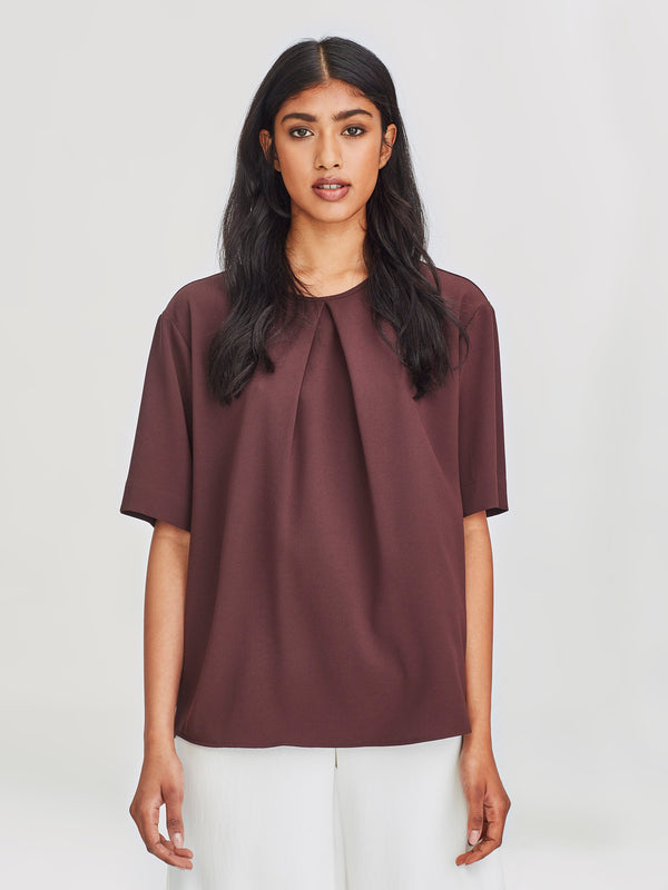 Pleat T (Satin Back Crepe) Mocha