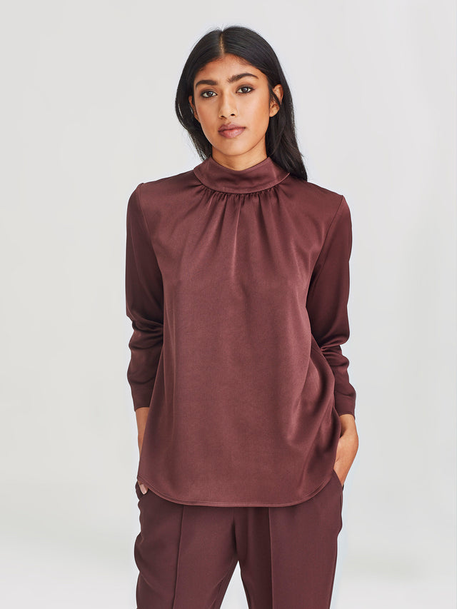Salon Blouse (Satin Back Crepe) Mocha