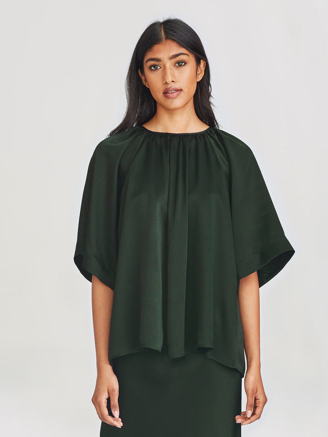 Grace Top (Silk Satin) Forest