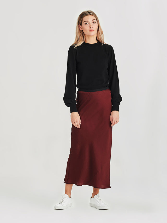 Saga Skirt (Satin Triacetate) Wine