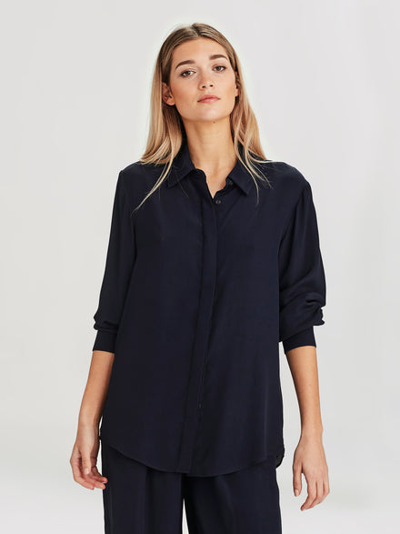 Beau Shirt (Viscose Silk ) Navy