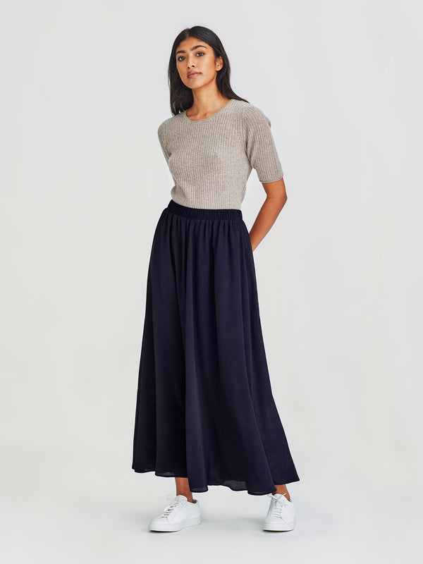 Vicky Skirt (Viscose Silk ) Navy