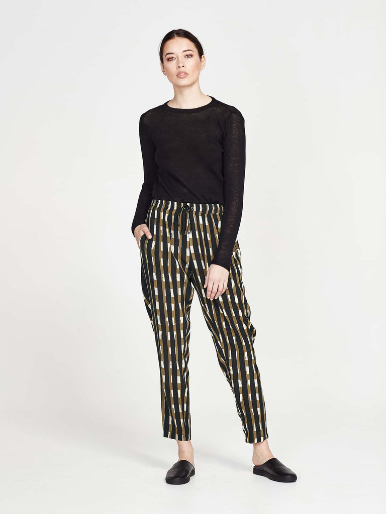 Leonard Pant (Block Stripe Silk) Licorice
