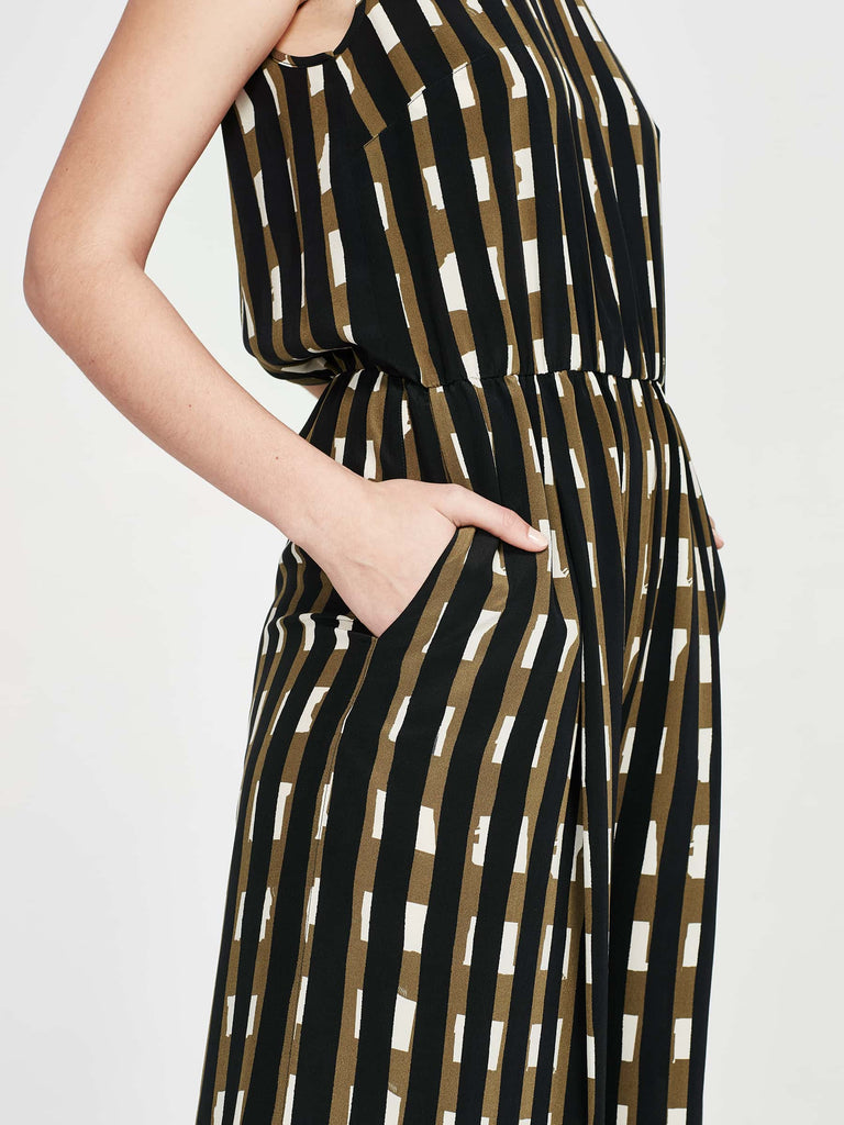 Loren Jumpsuit (Block Stripe Silk) Licorice