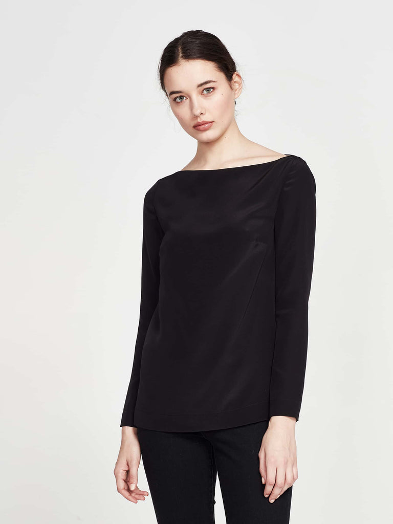 Margeaux Top (Silk Crepe De Chine) Black