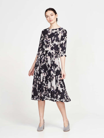 Cora Dress (Drapey Crepe) Black