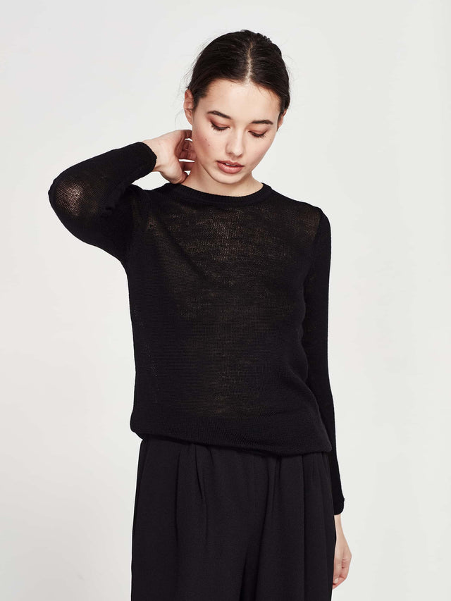 Shea Merino Top (Sheer Merino) Black