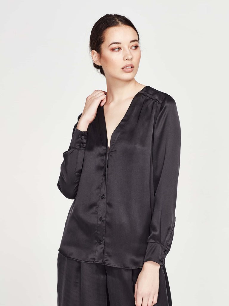 Marion Blouse (Sandwash Silk) Black