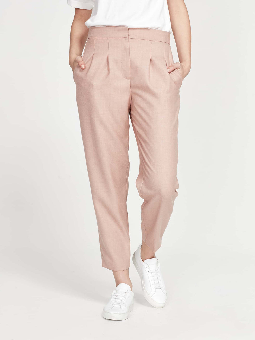 Stanley Cropped Pant (Wool Rose Suiting) Rose