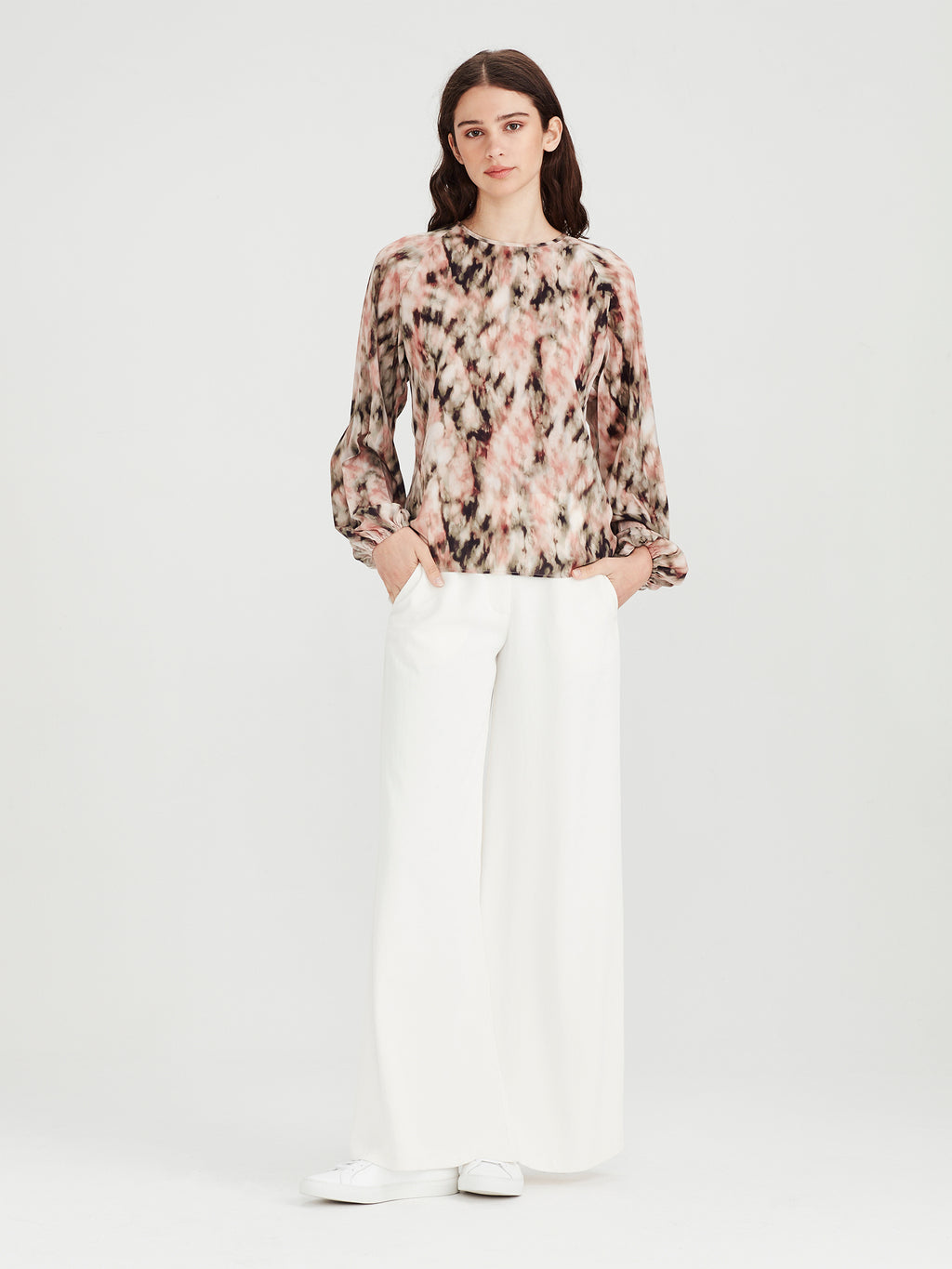 Cameron Pleat Blouse (Ashbury Print) Tie Dye