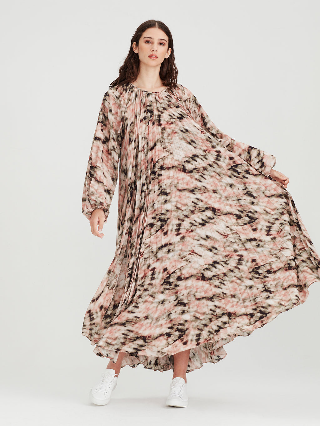 Gabrielle Pleat Dress (Ashbury Print) Tie Dye