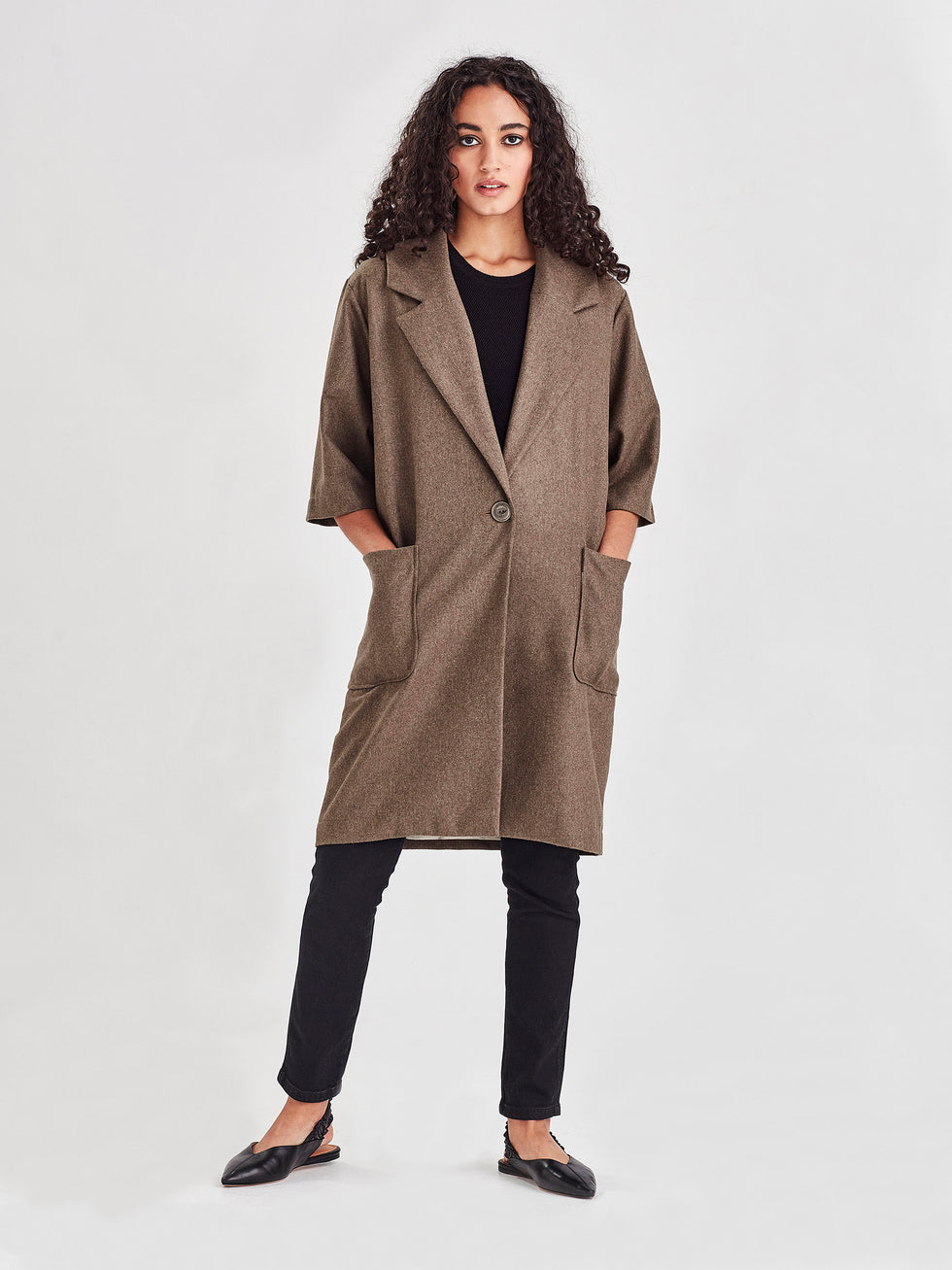 Duster Coat (Blanket Tweed) Moss