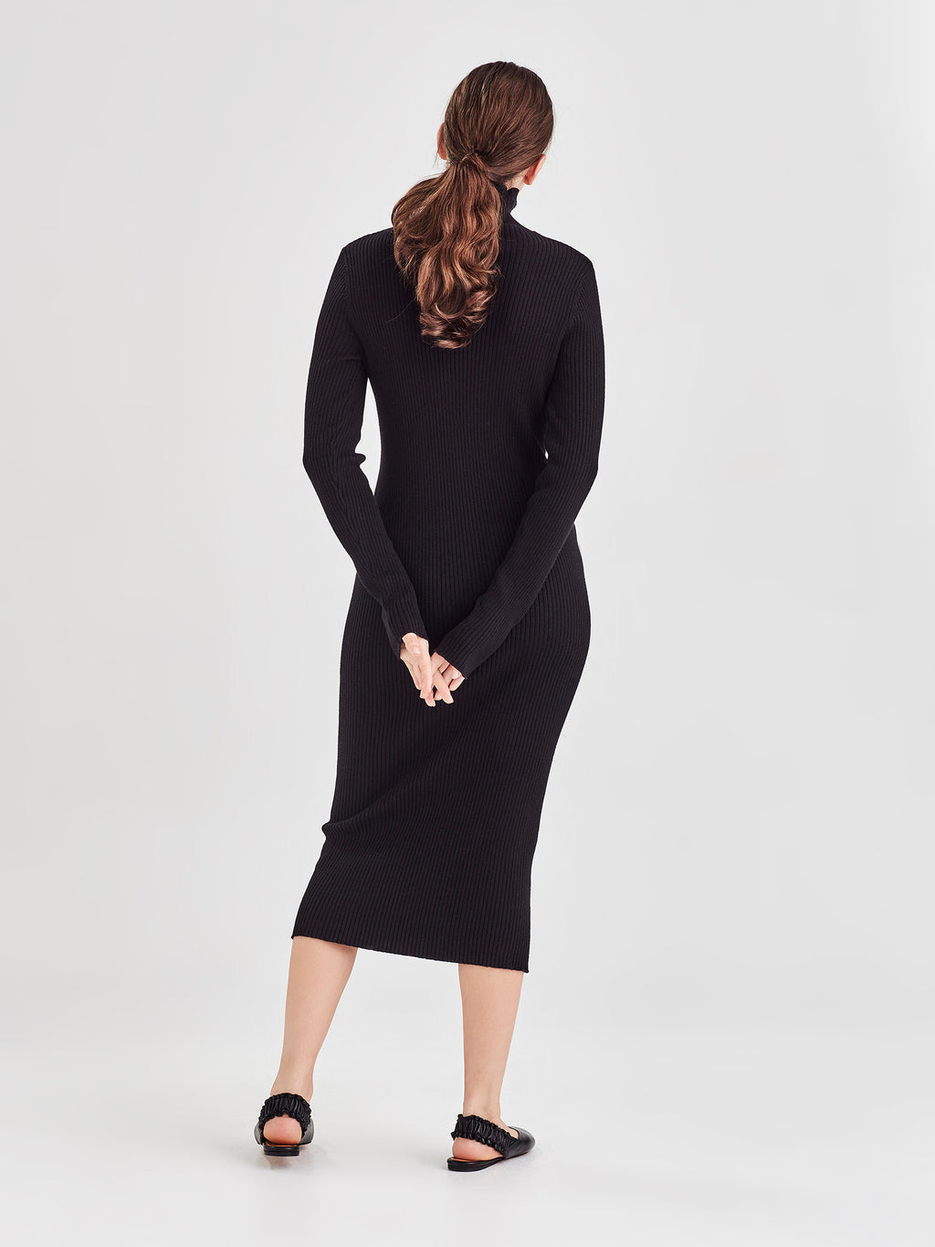 Apres Rib Dress (Cotton Cash Rib) Black