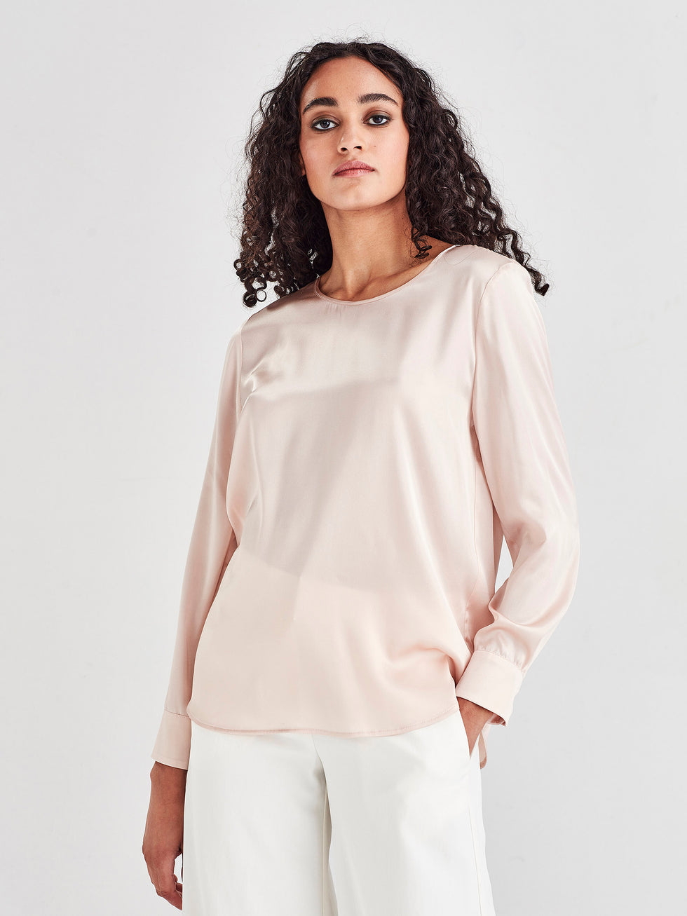 Noelene Blouse (Light Silk Satin) Talc
