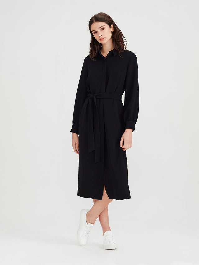 Molly Shirt Dress (Luxe Suiting) Black
